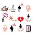 parkinsons disease seniors health icons set vector image vector image