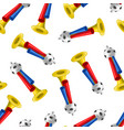 realistic detailed 3d trumpets football fan vector image vector image