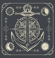retro travel banner with ship anchor and wind rose vector image vector image