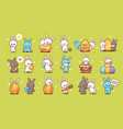 set cute rabbits happy easter bunnies stickers vector image vector image