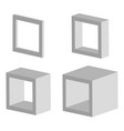 set of 3d square model icons with different depths vector image vector image