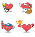set of heart character with beer santa gift vector image vector image
