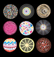 set patterns different circles vector image vector image