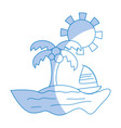 silhouette palm with sailing boat around of island vector image vector image