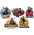 skate badge design vector image vector image