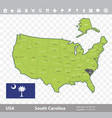 south carolina flag and map vector image