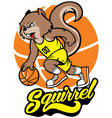 squirrel basketball mascot vector image vector image