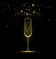 stylized champagne glass with gold stars vector image vector image
