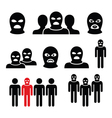 Terrorist group dangerous people in balaclava ico vector image