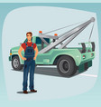 tow truck operator and pickup wagon vector image vector image