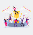 winners team happy people win golden cup vector image
