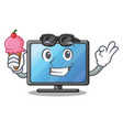 with ice cream lcd tv above wooden cartoon table vector image