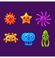 Cartoon Sea Animals Marine Life Colorful vector image