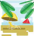 Abstract design with palm leaves sand beach umrell vector image