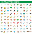 100 analytics icons set cartoon style vector image