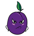 angry plum on white background vector image vector image