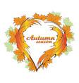 autumn season heart leafs icon design vector image vector image