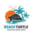 beach turtle logo design template vector image vector image