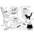 Black and White Witches - Halloween Set vector image vector image