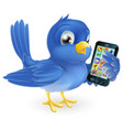 bluebird with mobile phone vector image vector image