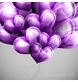 bunch of violet balloon hearts vector image vector image