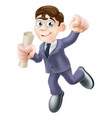 businessman with scroll vector image vector image