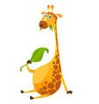 cartoon cute giraffe chewing green leaf vector image
