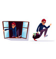 cartoon robber thief characters set vector image