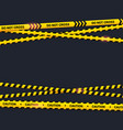 caution tape on black background do not cross vector image vector image