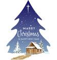 christmas tree landscape design vector image vector image