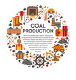 coal production banner with icons set in circle vector image