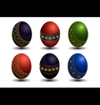 Collection colored Easter eggs with gold patterns vector image