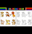 coloring book with wild cats collection vector image vector image