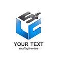cube pixel letter slc initial alphabet logo vector image vector image