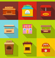 cupboard icons set flat style vector image