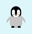 cute baby penguin standing on blue background vector image vector image