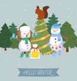 cute snowman and winter forest vector image vector image