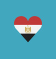 egypt flag icon in a heart shape in flat design vector image vector image