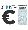 Euro Icon with 1000 Medical Business Symbols vector image