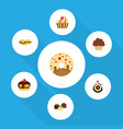 Flat cake set of dessert cake doughnut and other vector image