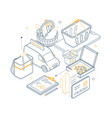 food delivery - yellow and black isometric line vector image