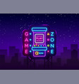 game zone logo neon game room neon sign vector image vector image