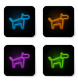 glowing neon dog icon isolated on white vector image