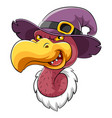 head vulture bird mascot with witch hat vector image vector image