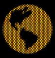 hexagon halftone earth icon vector image