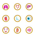 Human elements icon set cartoon style