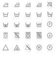 Laundry line icons with reflect on white vector image