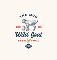 mug and goat pub or bar abstract sign vector image vector image
