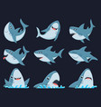ocean shark mascot scary sharks animals smiling vector image vector image