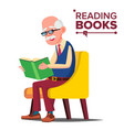 old man reading book paper book sitting vector image vector image